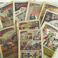 Vintage Superman Comics Missing Covers Paper Ephemera Supply for upcycling