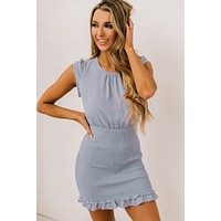Keep It Updated Smocked Dress (Dusty Blue)