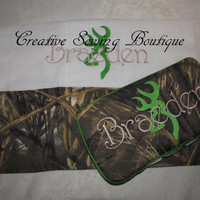 FREE SHIPPING Custom Handmade max 4hd camo camouflage browning buck deer inspired travel wipe case and burp cloth your choice of name