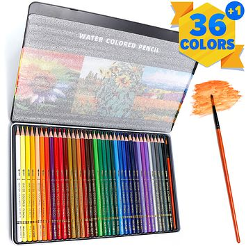 PuTwo Colored Pencils, 36 pcs Numbered Watercolor Pencils with Brush Pen and Metal Box, Color Pencils, Drawing Pencils, Coloring Pencils, Colored Pencils for Adult Coloring, Colored Pencil for Kids