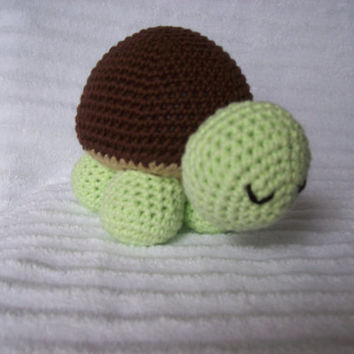 Crochet Turtle Stuffed Animal - Turtle Plushy Green and Brown, Stuffed Turtle