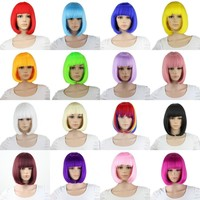 Straight Short Bob Wigs For Women Heat Resistant Synthetic Hair Pink Black Purple Blue White Blonde  Rainbow Wig Cosplay Anime