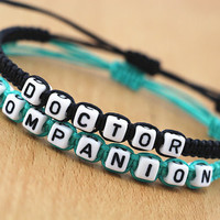 set of 2 personalized couple bracelet, his and hers, Doctor Who Inspired Bracelets, Doctor Companien bracelet,best gift for couple/friends