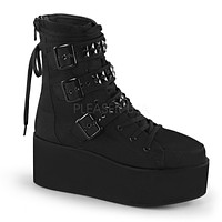 Grip 101 Studded Multiple Strap Black Canvas Lace Up Sneaker Boot 6-11