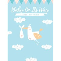 Custom Printed Baby Shower Stork Backdrop - C0265