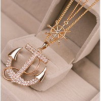 Fashion necklace sweater chain double jewelry necklace