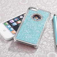 Pandamimi - Deluxe Light Blue Diamond Rhinestone Glitter Bling Chrome Hard Case Cover for Apple iPhone 5 5G Screen Protector and Stylus