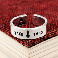 Take This Ring - Legend of Zelda - Video Game Jewelry - Adjustable Aluminum Cuff Ring