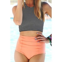 Stylish Striped Crop Top and High Waist Briefs Tankini For Women