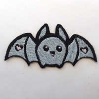 Cute bat with Hearts - Pastel pink, or blue - Shiny Kawaii Fairy Kei Iron on patch