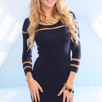 Navy Long Sleeve Knit Dress with Gold Accent Stripes