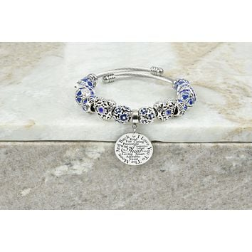 Women's Charmed Inspirational Blue Tone Bracelet By Pink Box