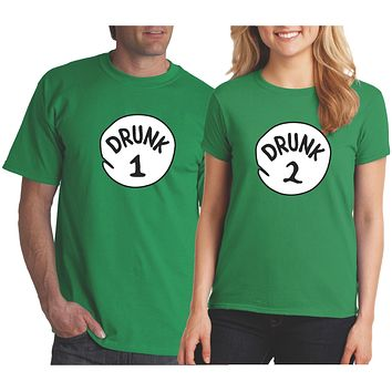 Drunk 1 Drunk 2 Funny St Patrick's Day Shirts Green