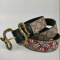Inseva G GUCCI Fashion New Snake Buckle More Letter Pint And Snake Print Leather Couple Personality Belt Black