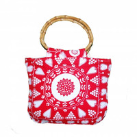 Bamboo handbag red, white, mandala, hearts, greaps