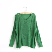 Cutout V-Neck Long-Sleeve Pullover Knitted Shirt