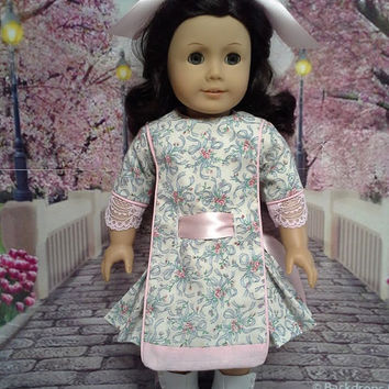 """Historical American girl doll clothes """"Sweet and Innocent"""" Early 1900s pink & blue apron frock (18 inch) pattern by Eden Ava Couture"""