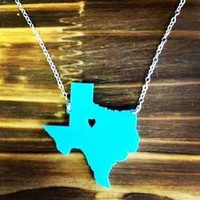 Acrylic State Charm Necklace