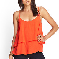 FOREVER 21 Tiered Woven Cami Orange