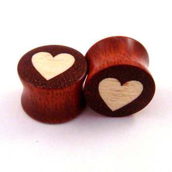 """Heart - Holly on Bloodwood - Wood on Wood Inlay Plugs - 00g (9mm) (10mm) 7/16"""" (11 mm) 1/2"""" (13 mm) 9/16"""" (14 mm) 5/8 (16 mm) Wooden Gauges"""