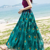 Ethnic Bohemia Peacock Print A Line Dress