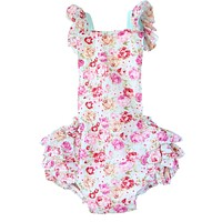 Baby Toddler Girls Mint Floral Ruffle Romper