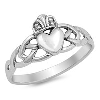 Sterling Silver Claddagh Blessing Ring 10MM