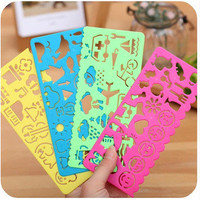 4pcs Korea stationery candy color ruler oppssed drawing template free shipping