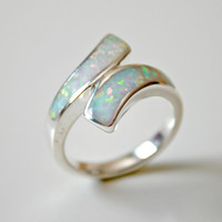 Opal Ring,inlaid Opal Ring,Sterling Silver,october birthstone