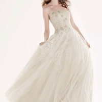 Tulle Ballgown with Champagne Lining and Beading - David's Bridal- mobile