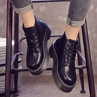 On Sale Hot Deal Korean Shoes Thick Crust Round-toe Boots [9013548292]