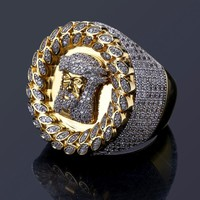 Copper mirco pave CZ stone Hip Hop Jesus Gold Color Ring All Iced Out CZ Stone Rings DR002