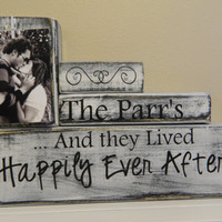 Personalized Wedding gift decoration and they lived happily Ever after shabby chic wood anniversary wedding shower gift black and white