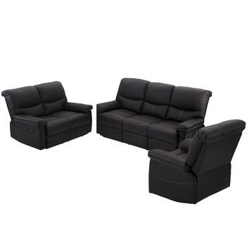 3 Set Sofa Loveseat Chaise Couch Recliner 3+2+1 Leather Living Room Furniture PR