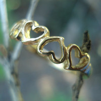 Sweet heart ring, solid yellow gold, alternative wedding band or engagement, teen gift, gift for her,  ethical gold, size 5 6 7 8 9
