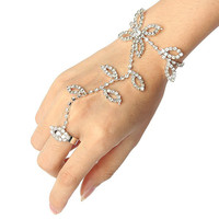 Fashion Leaves Flower Hand Harness Hand Chain Bracelet Bangle Link Finger Ring Rhinestone Slave Bangle Chain Bridal Jewelry N042