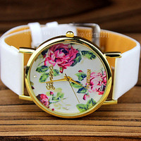 Floral Watch, Vintage Style Leather Watch, Women Watches, Unisex Watch, Boyfriend Watch