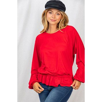 Chic Ambitions Red Long Sleeve Top