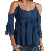 Tiered Cold Shoulder Peasant Top by Charlotte Russe