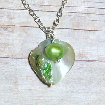 SUMMER SALE...Green Abalone Necklace Mother of Pearl Green Shell Necklace Ocean Jewelry Beach Jewelry Friendship Gift