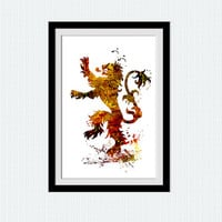 Game of Thrones watercolor poster House Lannister colorful print House Lannister sigil Home decoration gift Kids room decor Wall art  W211