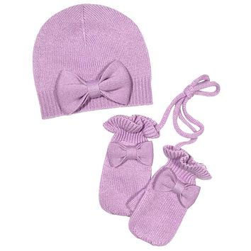 Bow Hat with mittens Cashmere in Lavender