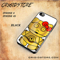 C3PO Hello Kitty Star Wars Black White Snap On 3D For Iphone 4/4S Case