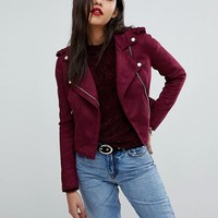 River Island Suedette Biker Jacket at asos.com