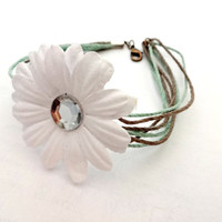 Hemp Bracelet, Sea Foam Green Floral Bracelet, Summer Jewelry