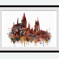 Hogwarts poster, Hogwarts watercolor print, Harry Potter, castle, fantasy, colorful, silhouette, nursery, kids room, red orange decor W566