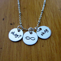 """The Fault in our Stars Inspired """"Okay? Okay"""" Necklace. Hazel and Augustus Infinity symbol. Silver colored. TFIOS"""