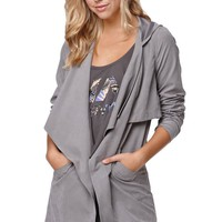 LA Hearts Drapey Hooded Trench Jacket - Womens Jacket - Gray