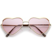 Women's Oversize Metal Frame Slim Arms Tinted Lens Heart Sunglasses 61mm