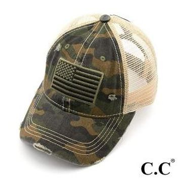 C.C. Camouflage USA Flag High Ponytail Cap